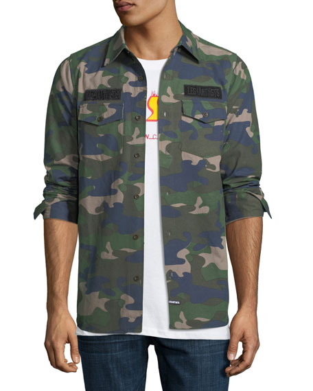 Les Artists Camo Canvas Long-Sleeve Shirt