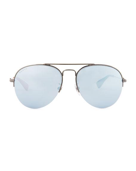 Mirrored Half-Rim Metal Aviator Sunglasses