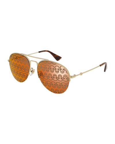 Skull Hologram Half-Rim Metal Aviator Sunglasses, Brown