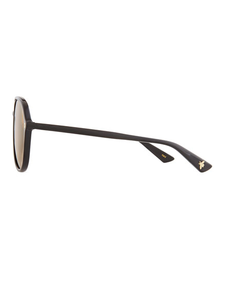 Oversized Acetate Aviator Sunglasses, Black