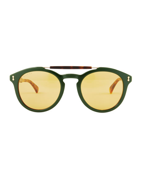 Vintage Round Acetate Sunglasses, Green