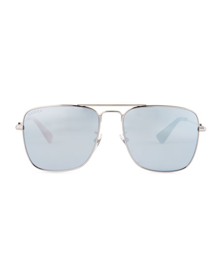 Mirrored Square Aviator Sunglasses, Dark Gray