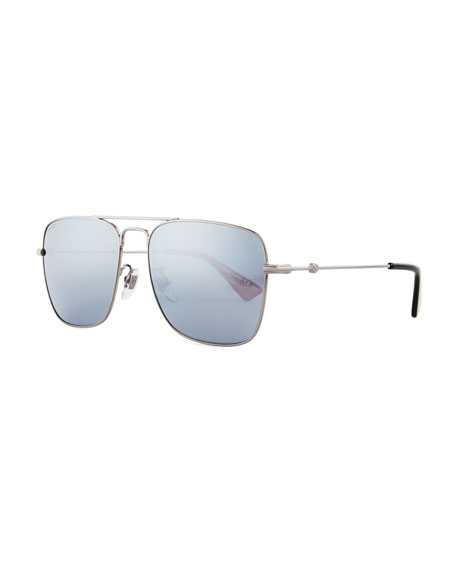 Gucci Mirrored Square Aviator Sunglasses, Dark Gray