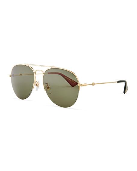 Gucci Half-Rim Metal Aviator Sunglasses, Gold