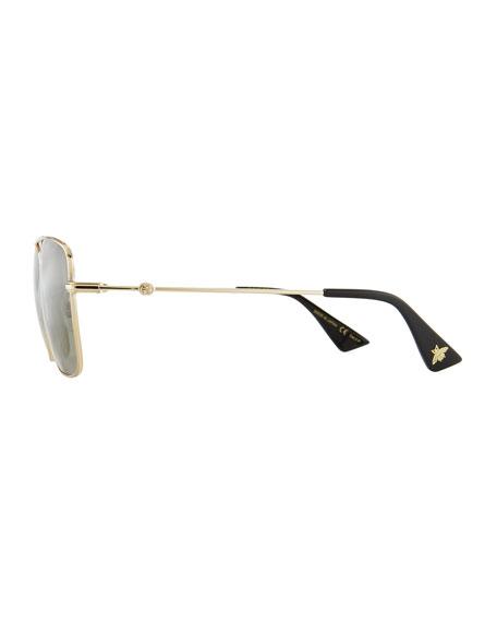 Polarized Square Aviator Sunglasses, Gold