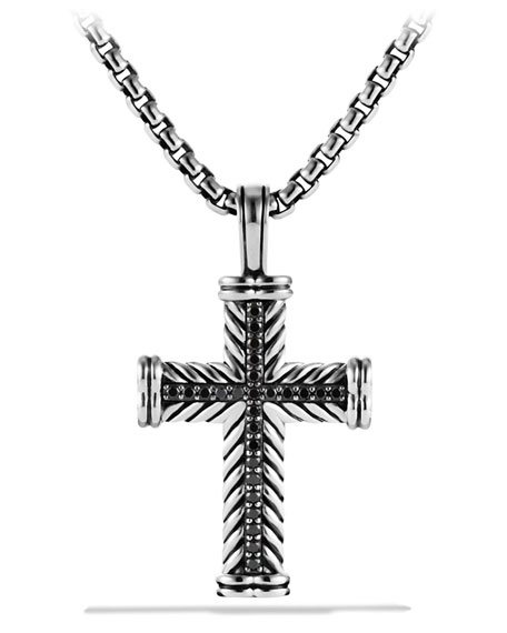 Men's Sterling Silver & Black Diamond Cross Enhancer
