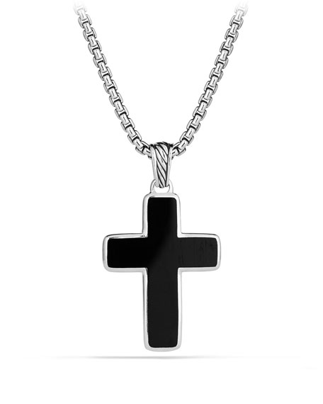 David yurman mens sterling silver onyx cross pendant neiman marcus mens sterling silver onyx cross pendant aloadofball Images