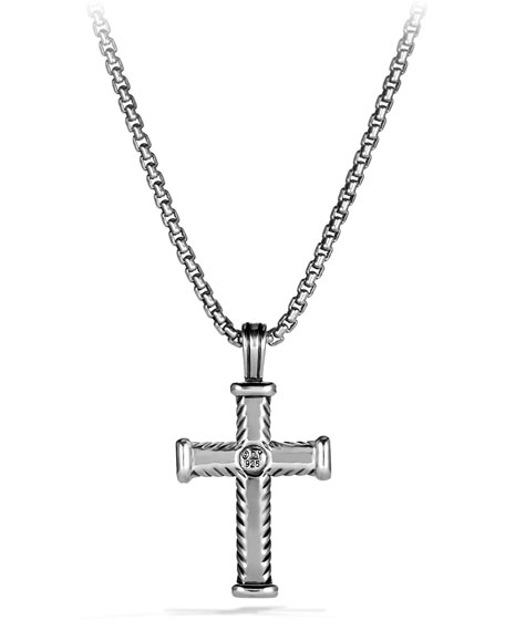 Men's Chevron Cross Pendant with Black Diamonds