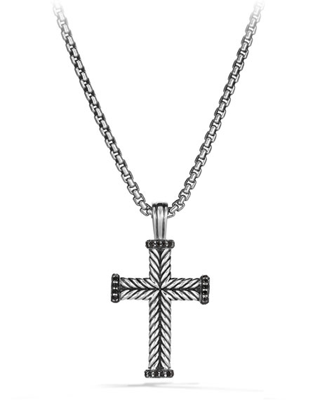 David Yurman Men's Chevron Cross Pendant with Black
