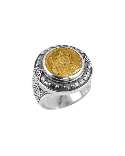 Men's Byzantium Sterling Silver & Bronze Coin Ring  Size 10