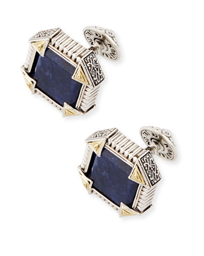 Silver & 18K Gold Cuff Links with Sodalite