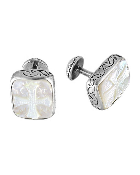 Color Classics Sterling Silver & Mother-of-Pearl Cross Cuff Links