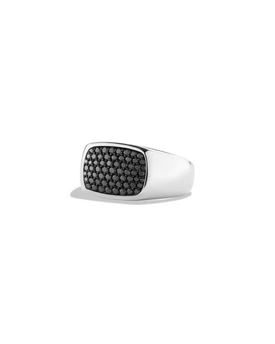 Men's East-West Signet Ring with Black Diamonds, Size 10