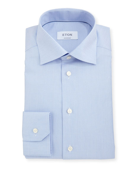 Contemporary-Fit Diamond-Texture Dress Shirt