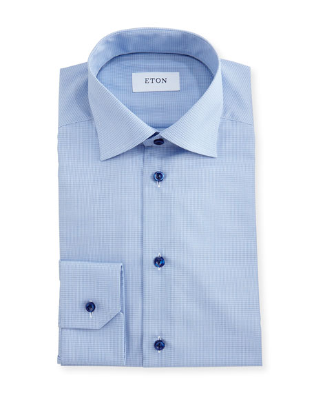Slim-Fit Grid-Check Dress Shirt