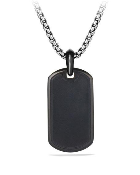 Men's Titanium & Sterling Silver Pave Tag with Black Diamonds