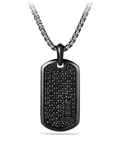 Men's Titanium & Sterling Silver Pave Tag with Black Diamonds
