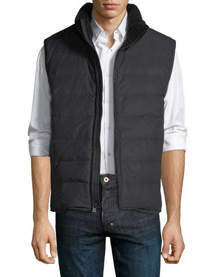 Andrew Marc Saranac Quilted Vest w/ Faux-Shearling Trim