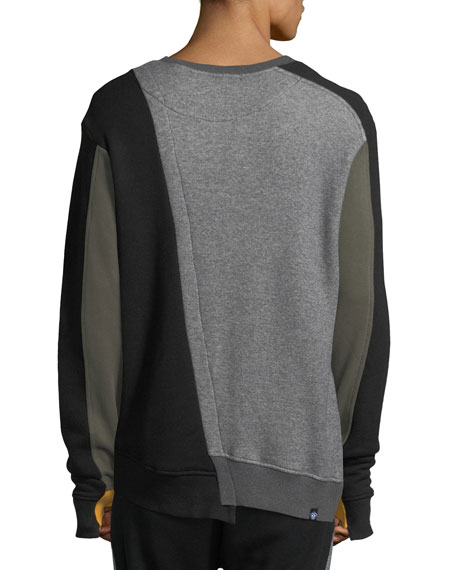 Mixed-Media Asymmetric Crewneck Sweatshirt