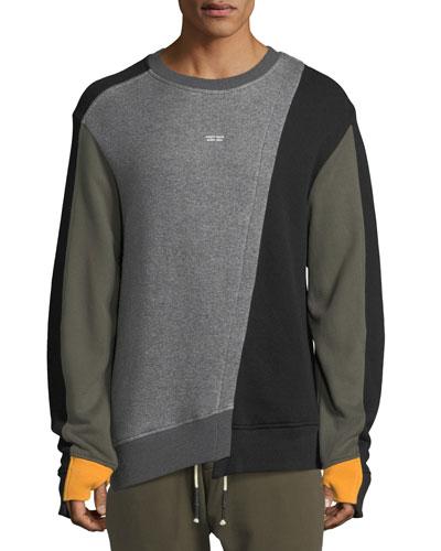 Mixed-Media Asymmetric Crewneck Sweatshirt