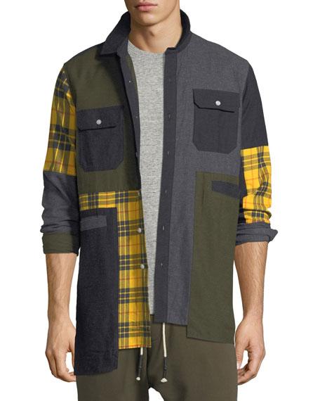 Mixed Plaid Flannel Shirt