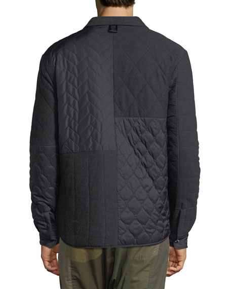 Mixed-Media Quilted Shirt Jacket
