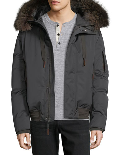 Alpine Fur-Trim Down Bomber Jacket