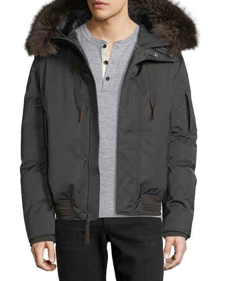 Andrew Marc Alpine Fur-Trim Down Bomber Jacket