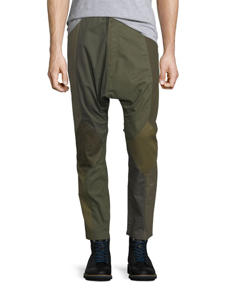 Patchwork Twill Dropped-Inseam Pants