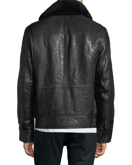 The 3416 Lambskin Leather Aviator Jacket with Shearling Collar