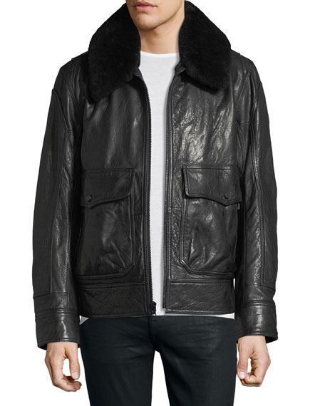 Andrew Marc The 3416 Lambskin Leather Aviator Jacket