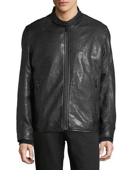 Lambskin Leather Cafe Racer Jacket