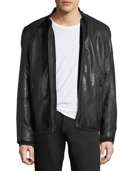 Andrew Marc Lambskin Leather Cafe Racer Jacket