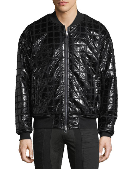 Grid-Quilted Taffeta Bomber Jacket