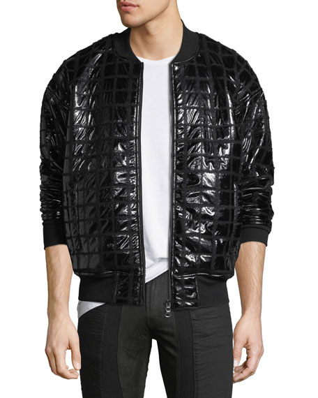 Private Stock Grid-Quilted Taffeta Bomber Jacket