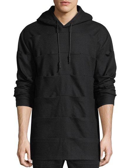PRIVATE STOCK Pintuck Paneled Wool Hoodie in Black
