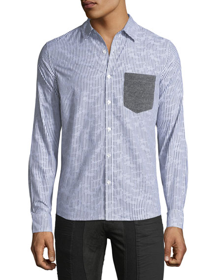 Pinstripe Knit-Paneled Shirt