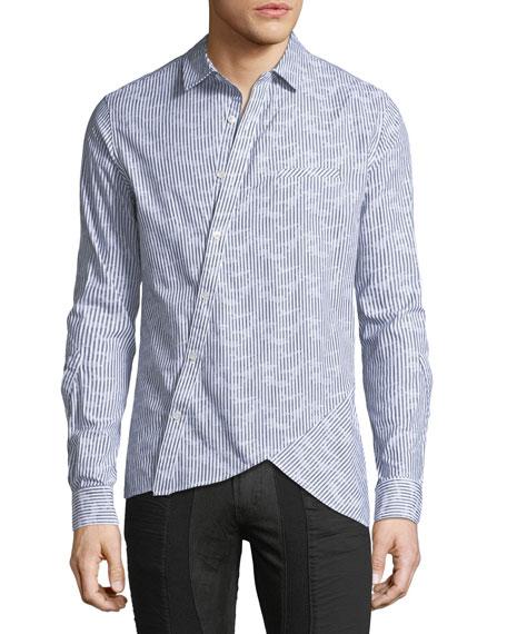 Asymmetric Pinstripe Cotton Shirt