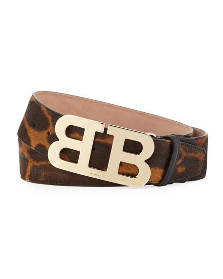 Bally Mirror B Leopard-Print Calf-Hair Belt