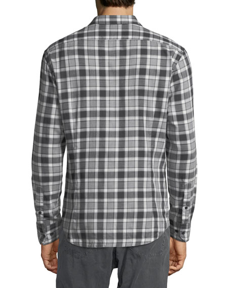 Herringbone Plaid Point-Collar Cotton Shirt