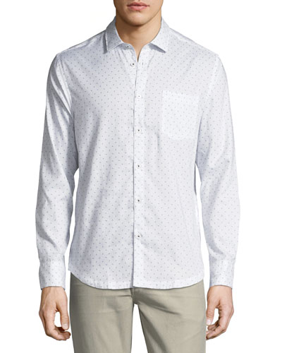 Geo-Block Point-Collar Cotton Shirt