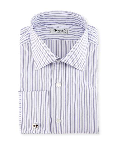 Ground-Stripe French-Cuff Dress Shirt