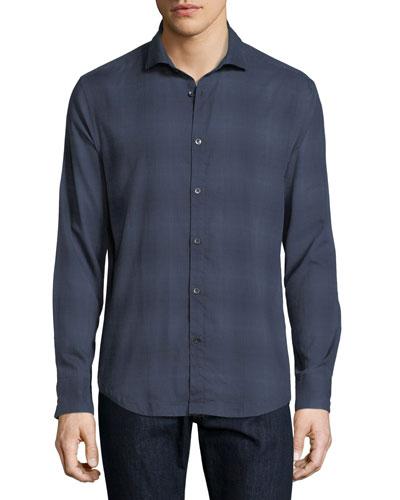 Bond-Collar Ombre Cotton Shirt