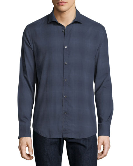 Bond-Collar Ombre Cotton Shirt