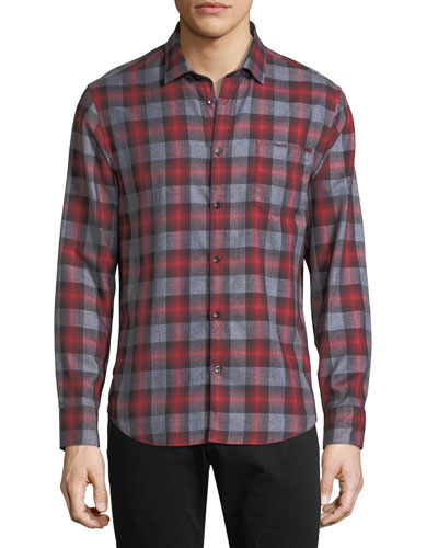 Ombre Plaid Point-Collar Cotton Shirt