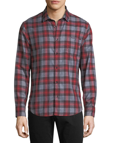 The Good Man Brand Ombre Plaid Point-Collar Cotton