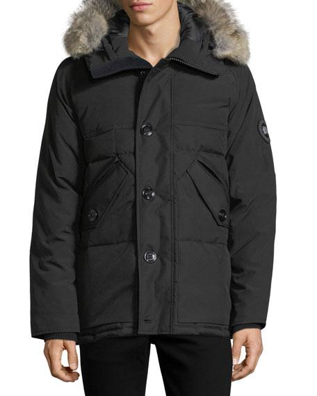 Travers Herringbone Down Jacket with Fur Trim