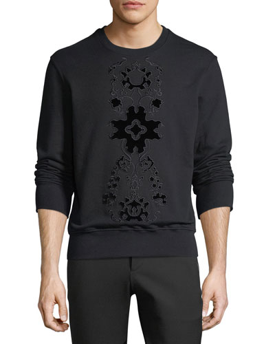 Flocked Velvet-Pattern Sweatshirt