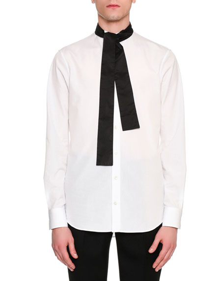 Alexander McQueen Tie-Collar Cotton Shirt