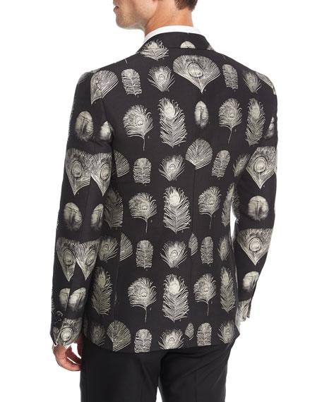 Feather-Print Jacquard Evening Jacket